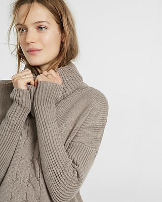 Express Womens Cable Knit Cowl Turtleneck Sweater Gray Large
