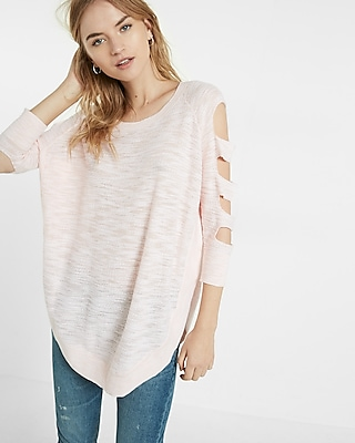 Express Womens Cut-Out Shoulder Tunic Sweater Pink Large