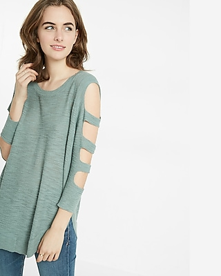 Express Womens Cut-Out Shoulder Tunic Sweater Green XX Small