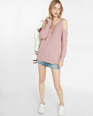 Express Womens Two-Way Lace-Up Tunic Sweater