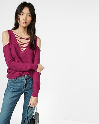 Two-way Lace-up Tunic Sweater