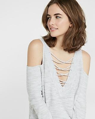 Express Womens Marled Two-Way Lace-Up Tunic Sweater