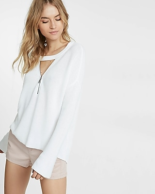 Express Womens Choker Zip V-Neck Bell Sleeve Tunic Sweater