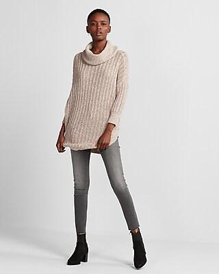 Express Womens Cowl Neck Extreme Circle Hem Sweater