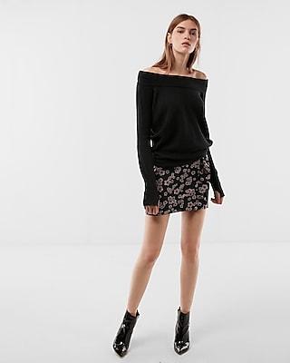 Express Womens Oversized Tunic Sweater Black XX Small