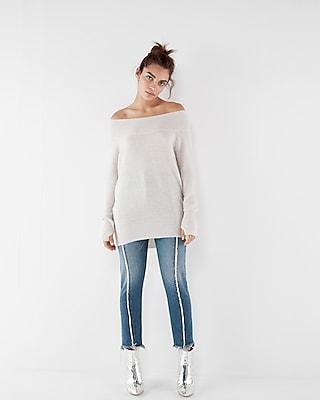 Express Womens Oversized Tunic Sweater Neutral XX Small