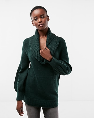 Express Womens Off The Shoulder Balloon Sleeve Tunic Sweater Green Xx Small