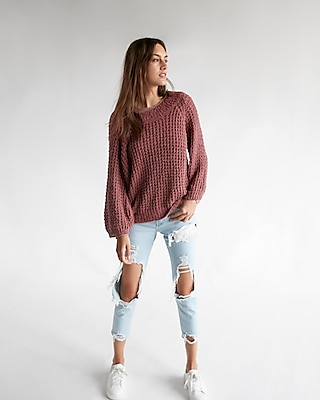 Express Womens Off The Shoulder Balloon Sleeve Sweater