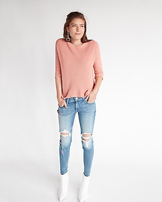 Express Womens Ribbed Hi-Lo Tunic Sweater Pink XX Small