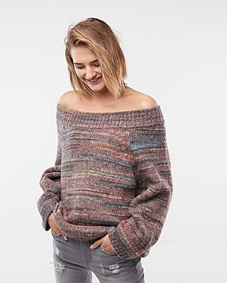 Express Womens Off The Shoulder Volume Sleeve Tunic Sweater