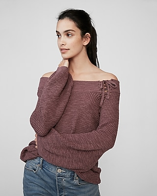 Express Womens Off The Shoulder Lace-Up Bucket Sleeve Sweater