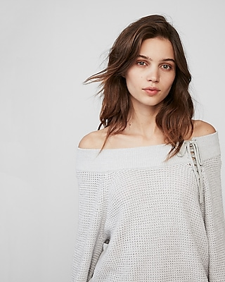 Express Womens Off The Shoulder Lace-Up Balloon Sleeve Sweater