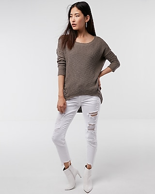 Express Womens Side Lace-Up Tunic Sweater