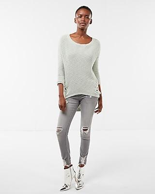 Express Womens Side Lace-Up Tunic Sweater