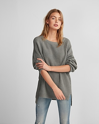 Express Womens Oversized Crew Neck Tunic Sweater