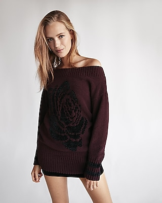 Express Womens Rose Stencil Wedge Tunic Sweater
