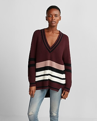 Express Womens Stripe Oversized Deep V-Neck Tunic Sweater