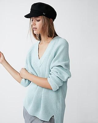 Express Womens Oversized Deep V-Neck Tunic Sweater Blue XX Small