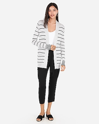 Express Womens Striped Wide Placket Cardigan