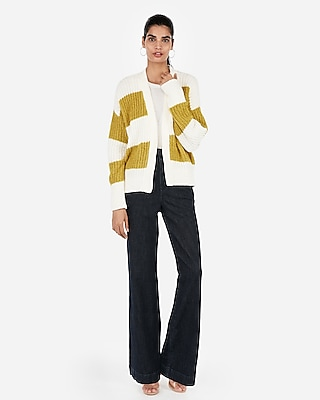 Express Womens Striped Cozy Chenille Cardigan