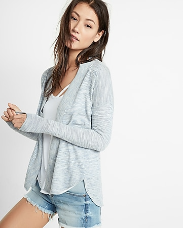 marled rounded hem cover-up
