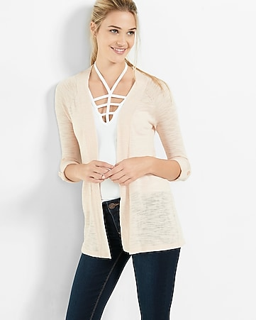 white lightweight rolled sleeve cover-up