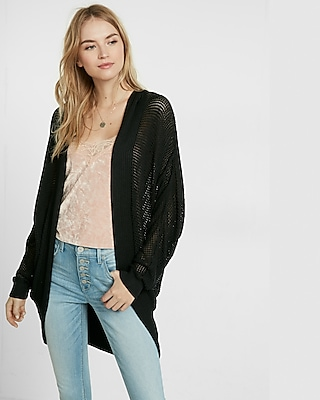 Express Womens Textured Stitch Hooded Cocoon Cover-Up Black X Small