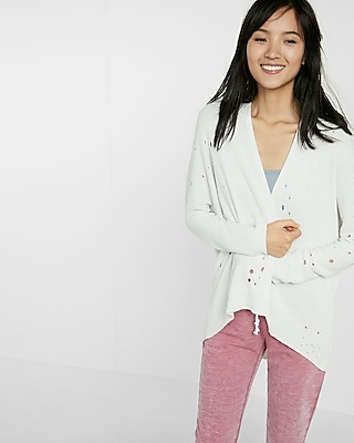 Express Womens Distressed Open Front Cover-Up