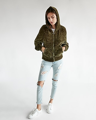 Express Womens Plush Chenille Hoodie