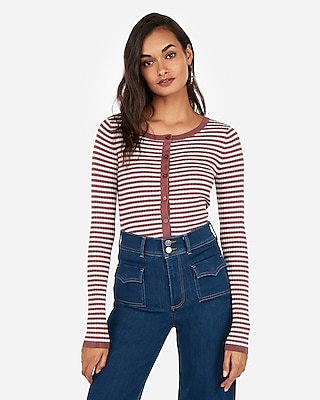 Express Womens Striped Crew Neck Ribbed Cardigan