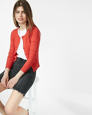 Express Womens Ribbed Crew Neck Cardigan Orange Small 12202690