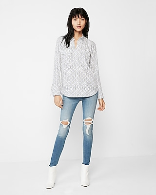 Express Womens Geometric Print City Shirt By Express