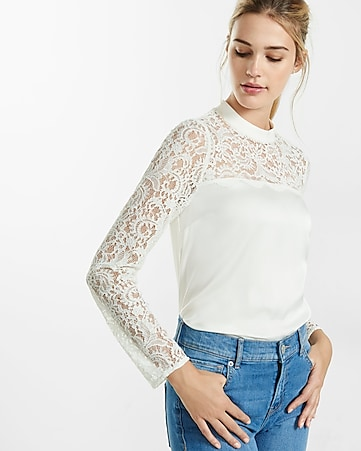 mock neck lace yoke blouse