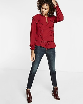 Express Womens Ruffle Front Blouse Red X Small