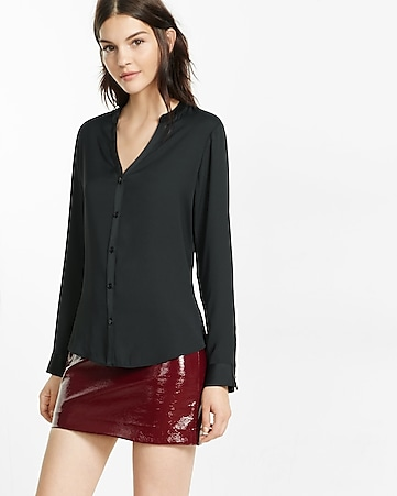 banded collar zip sleeve shirt
