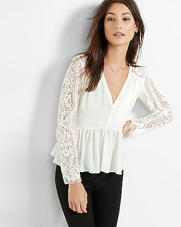 v-neck lace sleeve peplum blouse