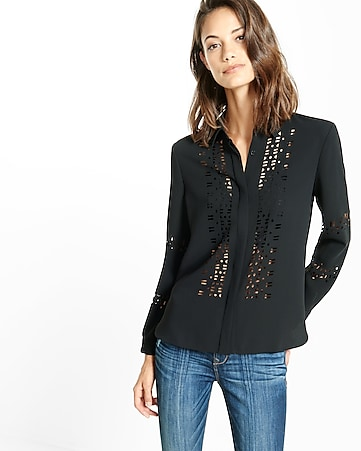 laser cut button down shirt