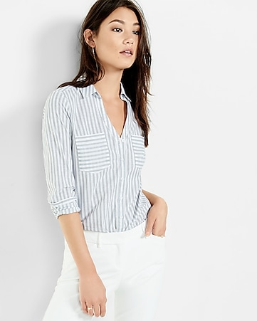 striped tailored poplin shirt