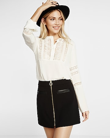 lace half placket band collar blouse