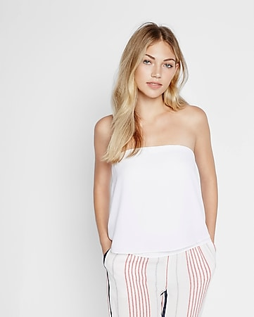 flowy abbreviated tube top