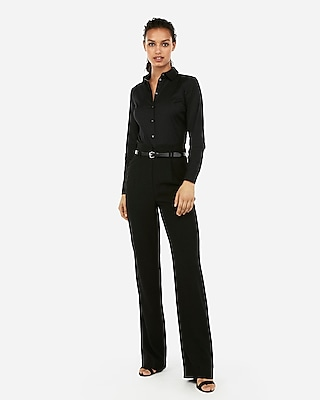 Express Womens Fitted Long Sleeve Essential Shirt Bodysuit Black Women's Xs Black Xs