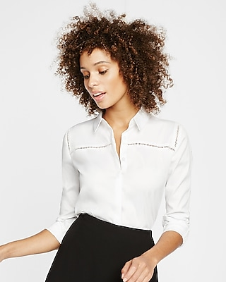 Express Womens Straight Fit Ladder Trim Full Button Essential Shirt