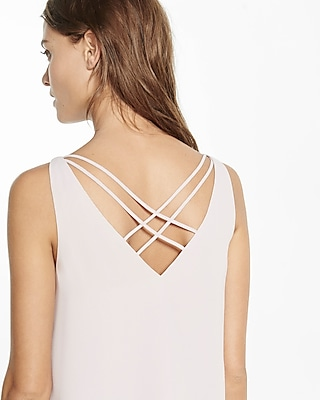 Express Womens Strappy Back V-Neck Tank Pink X Small