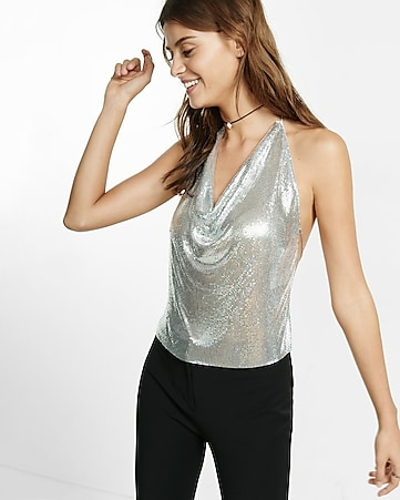 chainmail tie back halter top
