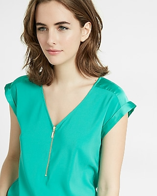 Express Womens Silky Zip Front Rolled Sleeve Blouse Green X Small