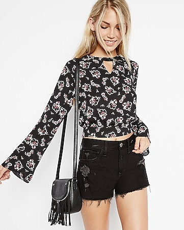 black floral open tie back blouse