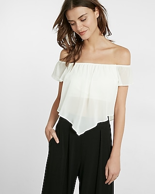 Express Womens Off The Shoulder Abbreviated Blouse White Large