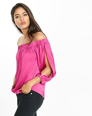 Express Womens Long Sleeve Off The Shoulder Blouse Pink X Small