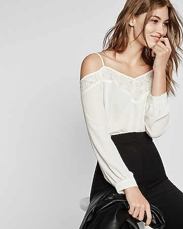 cold shoulder lace trim long sleeve blouse