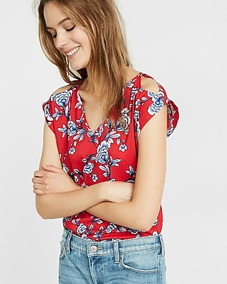 Express Womens Express Womens Floral Print V-Neck Cold Shoulder Rolled Sleeve Blouse Red Print X Small